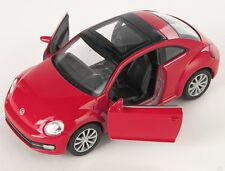 Spedizione LAMPO VW NEW THE BEETLE 2012 ROSSO/RED Welly Modello Auto 1:34 NUOVO & OVP