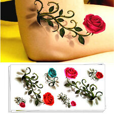 Romantic 3D Red Roses Temporary Body Art Last 3-5 days Flash Tattoo Sticker