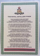 Royal Artillery Poem British Army Corps Regiment RA