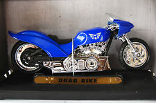 DRAG  BIKE  1/18th DIECAST MODEL MOTORCYCLE   BLUE