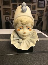 1976 Large CYBIS Bisque Porcelain FUNNY FACE BOY CLOWN FIGURINE Head Bust EXCLNT