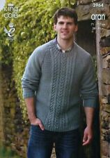 KNITTING PATTERN Mens/Boys Long Sleeve RoundNeck Cable Jumper Aran KingCole 3964
