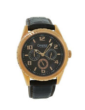 Caravelle by Bulova 44C100 Men's Rose Gold Tone Day & Date Brown Leather Watch