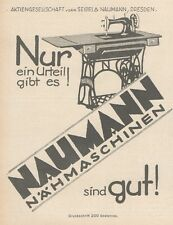Y6651 NAUMANN nähmaschinen -  Pubblicità d'epoca - 1927 Old advertising