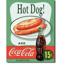 "New Coca-Cola Hot Dog! and Coca-Cola in Bottles Vintage Metal Tin Sign 13""x16"""