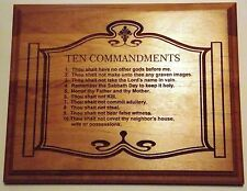 "Laser Engraved 8""x10"" Real Wood Plaque with The Ten Commandments"
