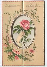 VINTAGE WILD CLIMBING ROSES HAND PALM PINK RED ROSE OVAL DIE CUT GREETING CARD