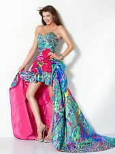 Jovani Stapless Sweetheart Multi Color High Low Prom Evening Dress Sz 6 NWT