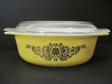 RARE Vtg Pyrex GOLDEN Yellow PROMO Floral GARLAND Covered Casserole Dish 1 1/2qt