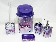 5pc Bathroom Accessory Set Tumbler Toilet Brush Lotion Soap Bin PUPRLE