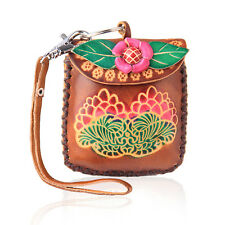 Women Flower Brown Coin Leather Purse Wallet Handbag Charm Keychains LW2