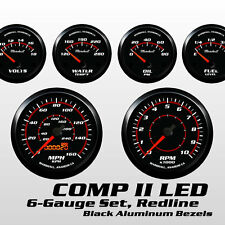 C2 Redline 6 Gauge Set, Black Bezels, Red Accents, Electric Speedo, All Electric