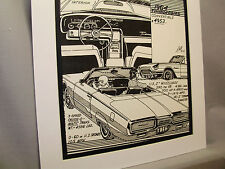1964 Thunderbird   Auto Pen Ink Hand Drawn  Poster Automotive Museum