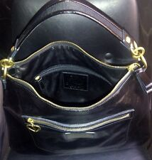 Authentic COACH DAISY LIQUID GLOSS PATENT LEATHER HOBO BAG PURSE F20108 BLACK