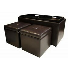Brown Storage Ottoman Coffee Table 7peice Leather Furniture Set Home Living Room