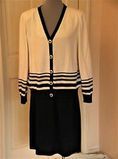 ST JOHN SKIRT SUIT L tag white tan NAVY BLUE likely altered to fit 1416 XL ?