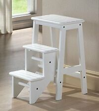 Folding Classic Solid Wooden 24 Inches Kitchen STEP STOOL, 36324, White