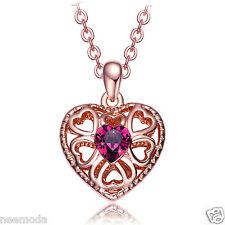 Mothers Day Gifts NEEMODA Rose Gold Plated Heart Pendant Necklace Purple Crystal
