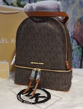 NWT MICHAEL Michael Kors RHEA Zip MK Medium Backpack PVC/Leather BROWN $298