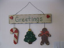Wooden Christmas Greetings Door/Wall Decoration Tree Candy Cane Gingerbread Man