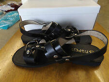 1970-80s ASPEN Leather Black Sandals, Fabulously Nice Look for Men, 10's