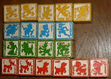 "Vintage DISNEY Embossed Character WOOD BUILDING BLOCKS, Lot of 19, 1 1/4"" Square"