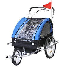 2in1 Pet Dog Bike Trailer Bicycle Trailer Stroller Jogger w/ Suspension In Blue