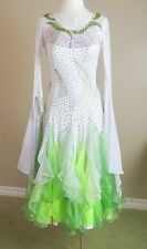 Ballroom Dance Competition Pageant Gown Smooth White Green Crystals Medium