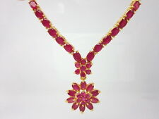 "Gorgeous Ruby Color CZ 17"" Necklace 22K 24K Gold GP Baht Thai Jewelry GT6"