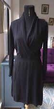 Neiman Marcus 100% Cashmere Black Faux Wrap Dress Sz M/L