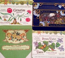 LOT of 4 CRABTREE EVELYN London SOAP BOXES Decorative Spa Bath PATCHOULI FLOWERS