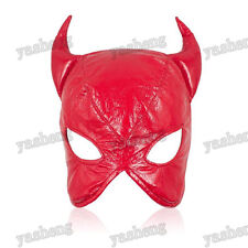 Faux Leather cat woman dominatrix Red mask hood head gear restraint Roleplay