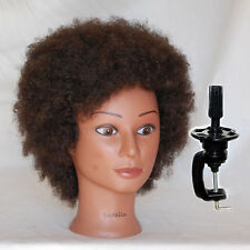 *USA SELLER* 100% HUMAN Hair Afro Cosmetology Mannequin Head with clamp