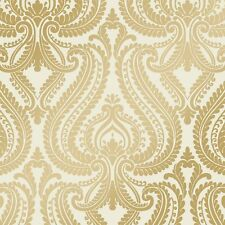 Me encanta Wallpaper Brillo Damasco Metálica en diseñador Luxuryweight Wallpaper CREMA / DORADO