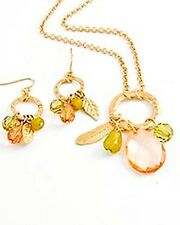NECKLACE & EARRINGS SET Gold Tone Metal w/Peach&Green Acrylic Beads #440015 HOT