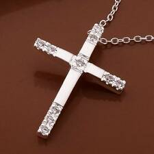 925Sterling Solid Silver Jewelry Crystal Cross Pendants Necklace For Women N539