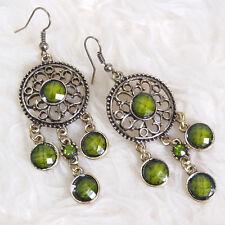 Womens Vintage Bohemian Hippy Green Gems Stones Dangle Drop Chain Hook Earrings