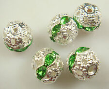 8mm 5pcs Czech GREEN Crystal Rhinestone Silver Rondelle Spacer Beads 11d5