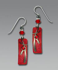Adajio RED Column EARRINGS Asian Overlay HEMATITE Dangle STERLING Silver - Boxed