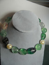 Ciner Faux Baroque Pearl & Fluorite Bead Choker  Necklace