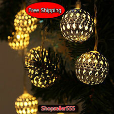Solar Light Balls Hanging Tree Decor Ornament Outdoor Garden Night Party Outdoor