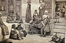 Cairo Egypt STEEET SCENES Egyptians in Market c1800 Antique Art Engraving Matted