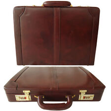 ZINT Men Hard Briefcase Genuine Leather Attache Bag Vintage Style Oxblood Brown
