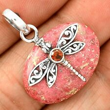 Dragonfly - Pink Thulite & Garnet 925 Sterling Silver Pendant Jewelry SP210285