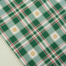 Forest Green and Linen Star Check Fabric / Nordic snowflake Christmas Scandi
