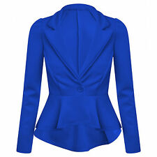 New Womens Ladies Office Casual Frill Peplum Blazer Jacket Top Plus size 8-14