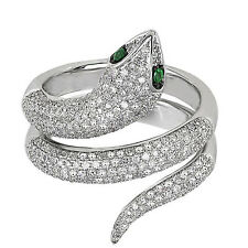 1.04 ct Natural Diamond & Emerald 10k White Gold Snake Ring Free Size NEW