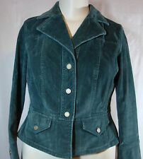 Dana Buchman Solid Teal Green Cotton Corduroy Jacket w/Signature Buttons 10 NEW