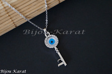 Nazar Silberkette Schlüssel Anhänger  Evil Blue Eye Key Necklace Silver Plated