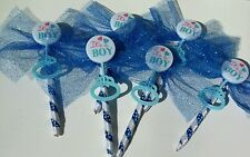 12 Baby Shower Favors Announcement Pens, handmade, Blue/White, IT'S A BOY, gift
